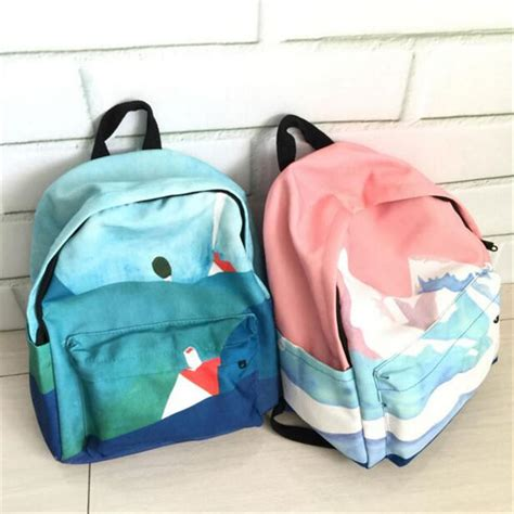 Embroidery Canvas Backpack landscape embroidery printing backpack casual canvas
