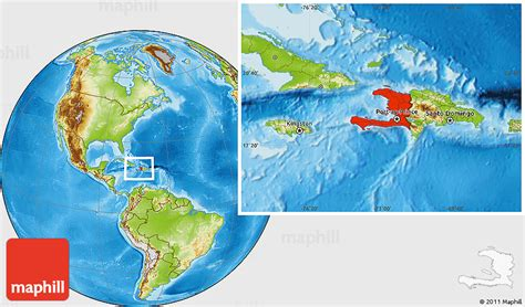 where is haiti on a world map physical location map of haiti