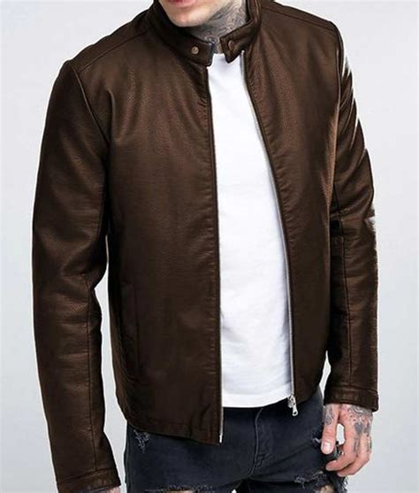 Casual Leather by Mens Casual Brown Leather Stand Up Collar Leather Jacket