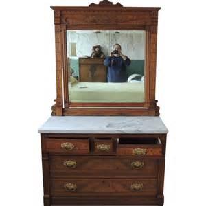 antique eastlake walnut marble top 3 2 dresser with