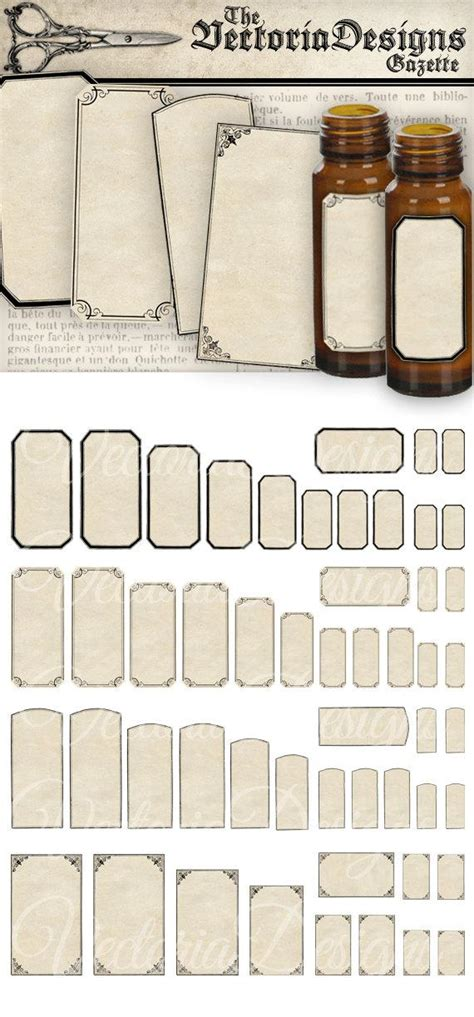 Mini Chagne Labels printable mini apothecary labels blank digital