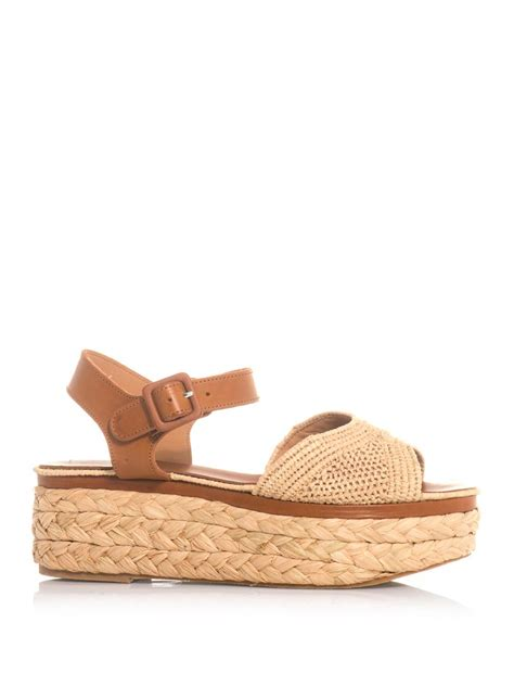 raffia sandals robert clergerie ardan leather and raffia flatform sandals