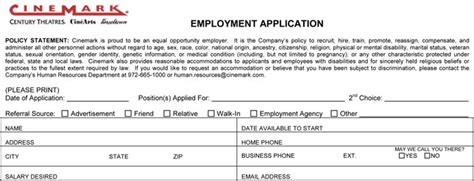 printable job applications for 16 year olds cinemark job application printable job employment forms