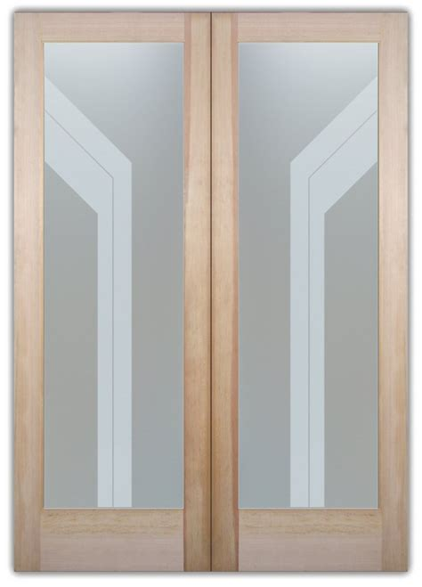 Interior Etched Glass Doors Angled Bands Modern Style Interior Etched Glass Doors