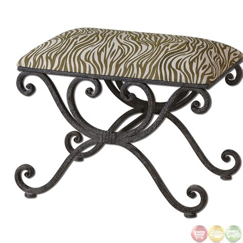 small wrought iron bench aleara zebra animal print small wrought iron seating