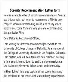 Recommendation Letter For College Sorority Sle Sorority Recommendation Letter 6 Exles In Word Pdf