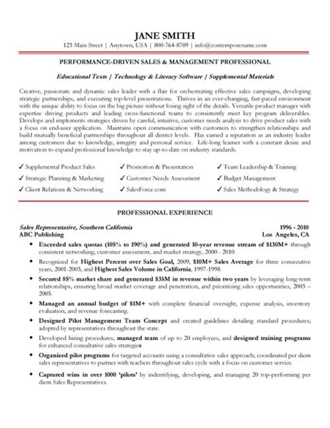 business management resume sles sales management professional resume