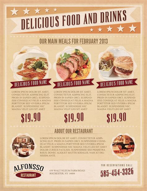 restaurant flyer template menu styles pinterest