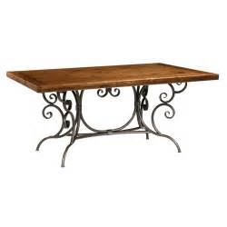 Dining table wood dining table wrought iron base