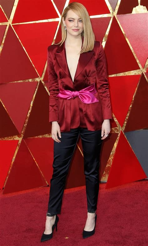 emma stone vuitton emma stone in horrid louis vuitton pantsuit and black pumps