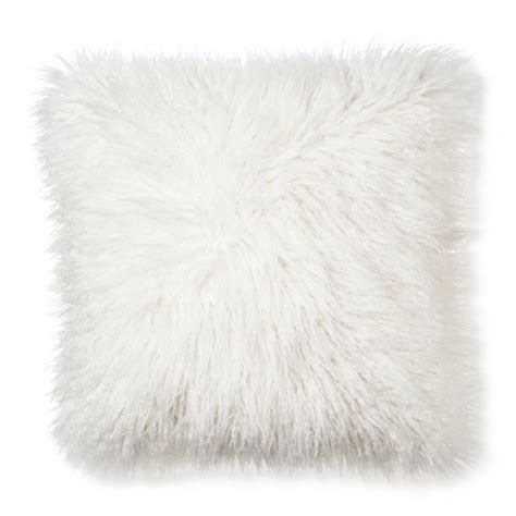 Fuzzy White Pillow by Mongolian Faux Fur Throw Pillow 18 Quot X18
