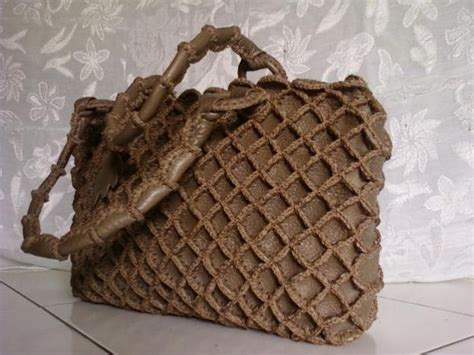 Tas Tangan Wanita Rajut Decoupage kerajinan tas tas kulit rajut handmade