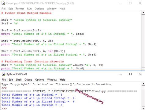 tutorial python slice python count function