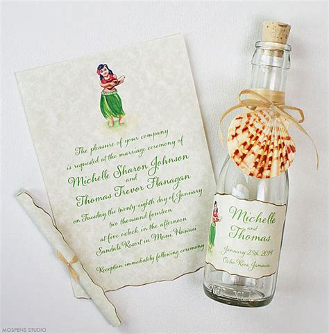 free hawaiian themed wedding invitations 21 bottle wedding invitation ideas mospens studio