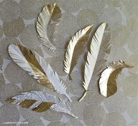 Paper Feathers - diy paper feathers in gold scrapbook co