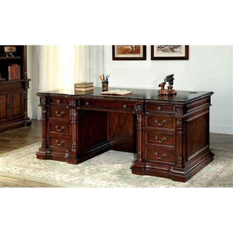 furniture of america langton traditional executive desk in