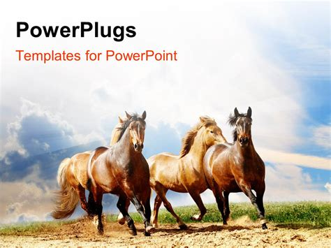 powerpoint template a number of horses running with