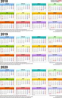 3 Year Calendar 2018 To 2020 Three Year Calendars For 2018 2019 2020 Uk For Excel