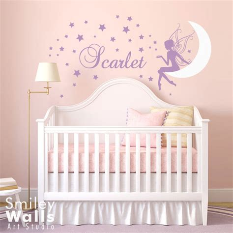Wall Name Decals For Nursery Wall Decal Moon Wall Decal Wall Sticker Wall