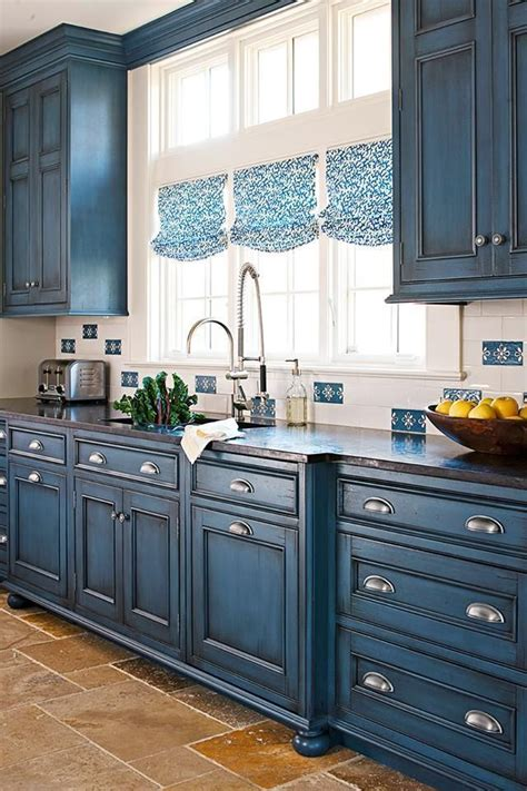 Blue Painted Kitchen Cabinets by This Is A Wonderful Blue Tone To Use In Cabin Or
