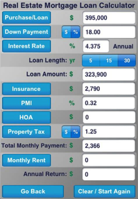 real estate mortgage loan calculator app for iphone