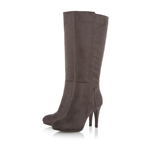linea starlett high heel knee high boots in gray grey lyst