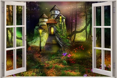 castle wall murals 3d window view childrens fairytale castle wall sticker decal mural ebay