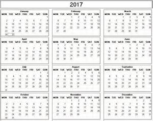 yearly 2017 printable calendar white week starts monday calendarprintables net