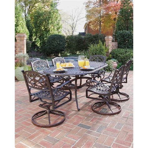 home styles biscayne bronze  piece swivel patio dining set    home depot