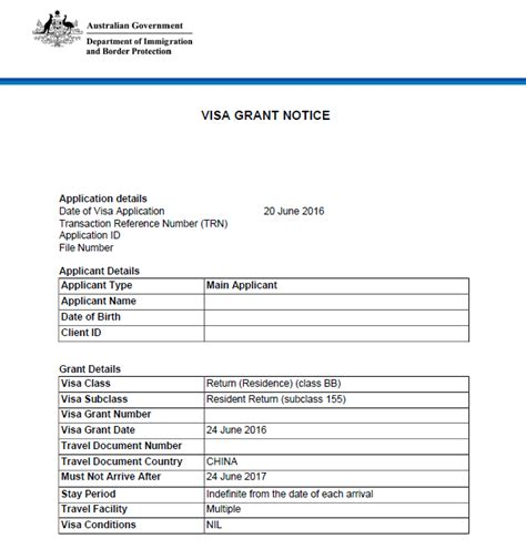 Australian Visa Grant Letter Renewing Permanent Residency 155 157 Resident Return Visas My Access Australia