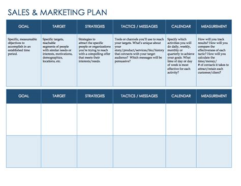 Free Sales Plan Templates Smartsheet Sales And Marketing Strategy Template