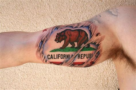 the map tattoos skin rips california flag