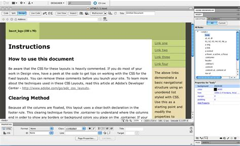 html5 extension in dreamweaver cs5 tutorial how to add background color in dreamweaver cs5