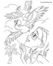 rio the movie linda jewel and blu coloring page