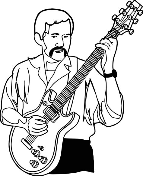 coloring page playing guitar playing guitar guitarist playing the guitar coloring page