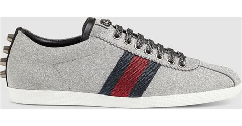 sneakers with glitter gucci glitter web sneaker with studs in metallic lyst