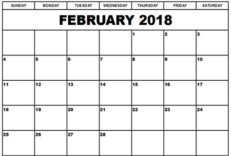 printable calendar january february march 2018 download february 2018 monthly calendar free 2017