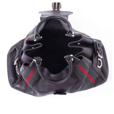 Webe Bags gucci large black leather web shoulder handbag