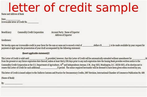 letter of credit draft template letter of credit sle sles business letters