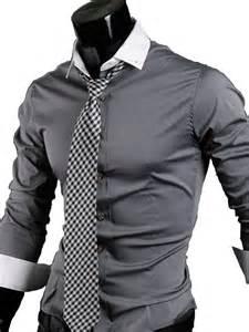 16 men s casual slim fit long sleeve dress shirt dark grey