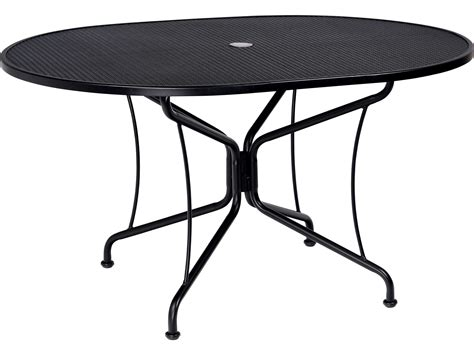 Oval Wrought Iron Patio Table Woodard Wrought Iron 54 X 42 Oval 8 Spoke Table With Umbrella 190303