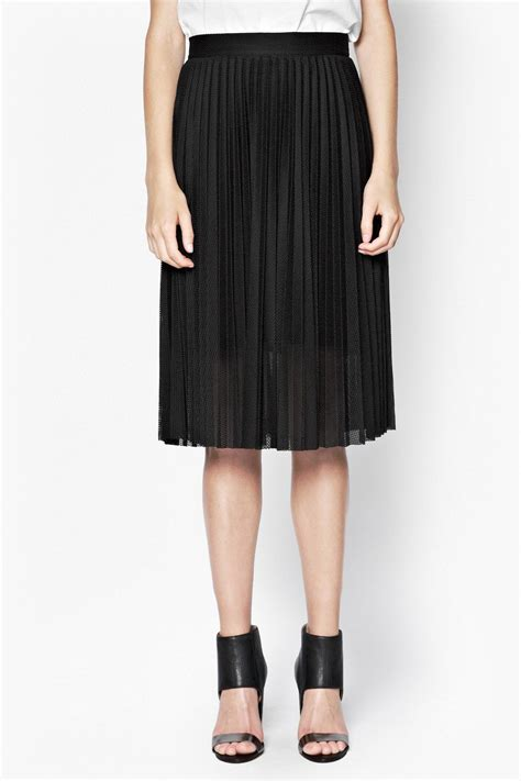 connection jersey pleated skirt in black lyst