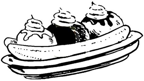 Three Flavour Banana Split Coloring Pages Three Flavour Banana Split Coloring Page