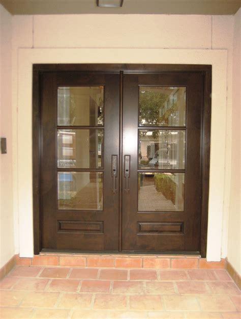 modern wood door knotty alder  lite panel bottom double