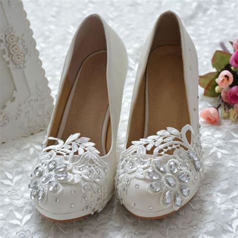 custom made white lace rhinestone bridal shoes 3 inch prom