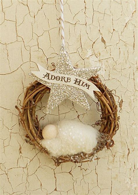 christmas ornament quot adore him quot banner needle felted baby