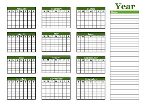 year calendar template yearly blank calendar with holidays free printable templates