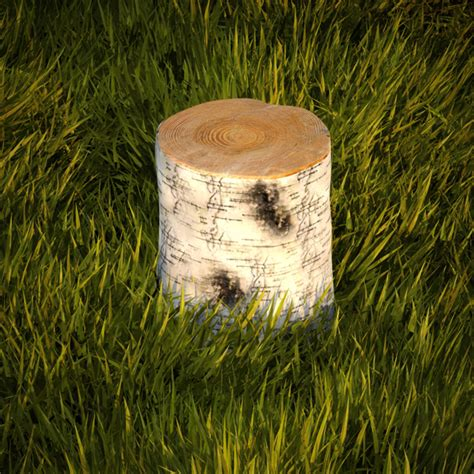 3d model birch stump
