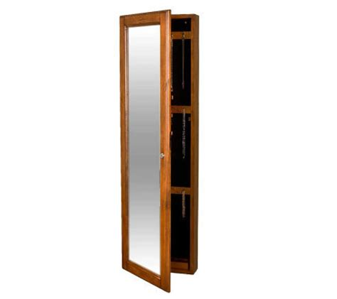 locking wall mount jewelry armoire oak finish locking wall mounted jewelry armoire page 1
