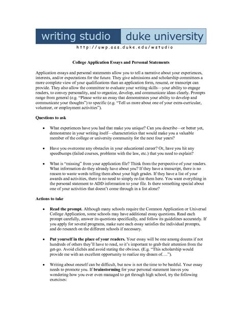 What To Write My College Essay On by How To Write A Successful Personal Statement For College Admission
